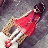 Wholesale Straight Chiffon Red Dresses - Chinese style baby girl cheongsam skirts 3D rose flower Embroidered girl's tutu skirts children girl wedding dress kids prom dress
