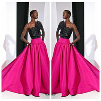 Wholesale Strapless Satin Bowknot Ivory - 2016 Elie Saab Black Fuschia A-Line Evening Party Dresses Red Carpet Celebrity Gowns Long Satin Bowknot Adorned Runway Fashion Prom Dresses