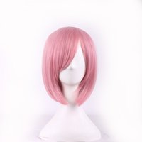 Wholesale Synthetic Hair Anime - WoodFestival 35cm short pink wig women straight fiber hair wigs synthetic high quality bob Wig with bangs synthetic anime cosplya