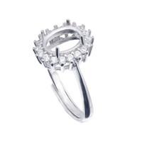 configurações do anel de prata em branco venda por atacado-Semi Montagem Anel Configurações Para Pedra Oval Com Base CZ Em Branco Sólida 925 Sterling Silver Mulheres Jóias Da Noiva Presentes de Casamento Da Dama de Honra