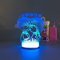 Wholesale Small Led Star Lights - 3D small desk lamp USB Bluetooth marry art Colorful DIY LED night light bedside lamp creative gifts married led table lamp