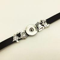 Wholesale Silver J Charms - Fashion Rushed Time-limited Strand Bracelets Bracelet Watch Christmas Leather Snap Button Bracelet Bt267 (fit 18mm 20mm Snaps) party dress j