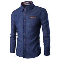 Wholesale Male Leather Shirts - Wholesale- High quality Faux Leather false pocket Shirts Men Casual Wash Blue Cargo Shirt Long Sleeve Slim Male Imitation denim jeans Shirt
