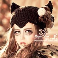 Wholesale Woolen Hats For Women - 2016 New Fashion Woman's Warm Woolen Winter Hats Knitted Cap For Woman Skullies & Beanies black color