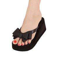 Wholesale Wholesale Platform Shoes For Women - Wholesale-VSEN Hot Summer Black Summer beach sandals for women Knot Bow Wedges Flip Flops Shoes Woman slippers Platform sandals Flip Flops