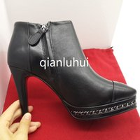 Wholesale Spiked High Heels For Women - 2016 New arrival Fashion Genuine leather shoes woman winter ankle boots for women Ladies sexy high heels size 34-39 Color black Pointed toe