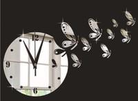 saat arka planları toptan satış-TV arka plan kelebek ayna duvar saati kuvars duvar saati duvar çıkartmaları