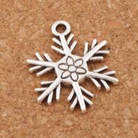 Wholesale Christmas Pendant Jewelry - Big Christmas Snowflake Charm Beads Hot Pendants 100pcs lot 19x24mm Tibetan Silver Fashion Jewelry DIY L738