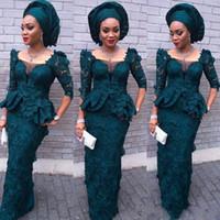 kat uzunluğu kılıf balo elbiseleri toptan satış-Koyu Yeşil Tam Dantel Gelinlik Yarım Uzun Kollu Kılıf Kat Uzunluk Abiye Sheer Boyun Peplum Aso Ebi Örgün Parti törenlerinde