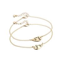 Wholesale Partner Party - 2016 New Arrival Best Friends Forever Partners In Crime Valentine Split Heart Pendant Bracelet Set Sisters Gift (2 PC)