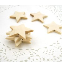 Wholesale Wooden Star Beads - 100pcs 40mm cute cartoon Wood Star shaped Chipboard unique Wooden beads Home DIY pendant Kid DIY finding EA200