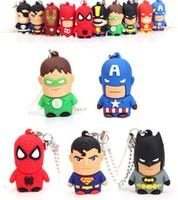 Wholesale Hero Flash Memory - Cartoon Super Hero Captain America Spiderman Superman Batman USB 2.0 Flash Drives & Storage Memory Stick Pen Drive U Disk Real 2GB-16GB