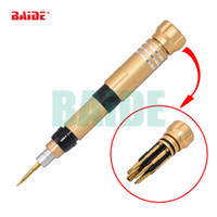 Wholesale phillips screwdriver bits - Gold 6 in 1 Combination Precision Magnetic Screwdriver Set With 0.6 Y 0.8 Pentalobe 1.5 Phillips 2.0 Slotted 2.5 Hex and 2.5M Bits 20pcs