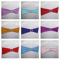 Wholesale Spandex Chair Ties - 100pcs lot Spandex Lycra Wedding Chair Cover Sash Bands Party Birthday Chair Decoration Banquet Chair Sashes Bow Tie 40 Colors DHL Free