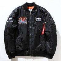 Wholesale Men Navy Baseball Jacket - Fall-Flight Pilot NASA Navy flying jacket Men MA1 Bomber Jacket Insignia USAF Coats Male suprem Jacket Embroidery Baseball Military coat