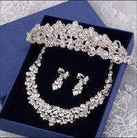 Wholesale Diamond Tiara Set - STOCK 2016 Fashion Flowers Crystals Three Pieces Tiaras Crowns Earrings Necklace Rhinestone Wedding Bridal Sets Jewelry Set Jewerly
