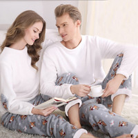 Wholesale Pajamas For Couples - Wholesale- SSH042 Winter Flannel Couples Matching Pajamas Adult Full Sleeve Pyjamas For Women Men Full Length Pajama Set Warm Sleepwear
