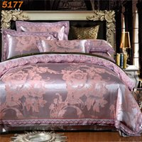 Wholesale Quilt Pillow Cases - Silver silk bedding sets king size tencel silk bed linen European style quilt cover bed sheets pillow cases jacquard bedset 5177