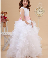Wholesale Organza White Pink Flower - 2017 Princess White Jewel Neck Flower Girl Dresses Ruffles A-Line Satin and Organza Girl Dress for Wedding Party Gowns With Pink Bow