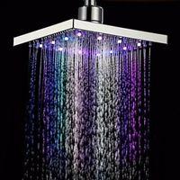 Wholesale Contemporary Bathroom Accessories - Waterfall LED shower head Temperature sensor 7 colors light change square Ceiling rainfall showerhead Bathroom accessories