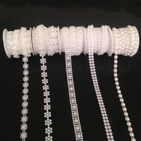 Wholesale Decor Chains - 5Rolls Lot White Half-Round Flatback Pearl Garland Mesh Trim Cake Banding Wedding Bead Chain Sewing Decor