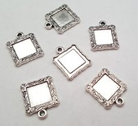 Wholesale Wholesale Vintage Accessories Cheap - Stock clear cheap DIY 18mm Alloy accessories vintage antique silver blank frame charms pendant 044# fit charm bracelet 20pcs lot