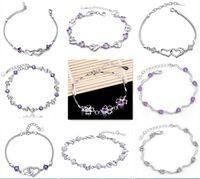 50b22bc75c23 925 pulseras de eslabones de plata esterlina amor cristal en forma de  corazón pulsera de cadena de amatista natural joyería de la versión coreana  regalo de ...