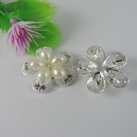 Wholesale flower findings jewelry for sale - Group buy 10pcs Silver Pearl Flower Charm Pendant Jewellry Finding mm jewelry making