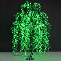 Wholesale Lighted Willow - Free ship LED Willow Tree Light LED 1152pcs LEDs 2m 6.6FT Green Color Rainproof Indoor or Outdoor Use