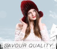 Wholesale Ladies Mink Hats - Autumn and winter warm winter mink hat three ball cap hat knitted fur Earmuffs Ear cap painted lady