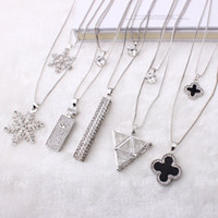 Wholesale clover sweater - fashion sweater long chain necklace Clover crystal chain pendant sweater Korean jewelry pendant ladies ornaments