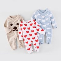 Wholesale Fall Colors Clothing - 3 colors INS Baby kids fall long sleeve o-neck cartoon love heart cloud bear print romper kids clothing outwear girl boy infant romper
