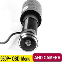 Wholesale Wide Angle Lens Cctv Camera - AHD 960P 1.78mm Fisheye Lens Wide Angle Mini AHD Camera 1.3Megapixel DOOR Camera CCTV Pinhole AHD Mini Camera with OSD Button