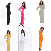 Wholesale Black Milk Long Sleeve Dress - Long sleeves Fashion Ladies' Sexy V-Neck Slim Scallop Neck black milk Women Maxi Dress Long Sleeve White Black Blue