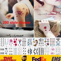 vücut ürünleri toptan satış-200 Stil Dövme Çıkartma Su Geçirmez Vücut Sanatı Geçici Dövmeler Çıkartmalar Kadın Erkek Takı Hediyeler Sağlık Güzellik Ürün HH-S17