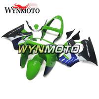 ingrosso zx6r 1998 99-Carenature complete blu verde adatta per Kawasaki ZX-6R ZX6R 1998 1999 98 99 Kit carenatura moto plastico ABS Kit coprisedili in ABS