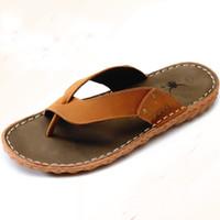 Wholesale Showers For Cheap - Wholesale Cheap Men's Flip Flops Casual Summer Beach Mens Sandals Fashion Slippers For Men Platform Male Shoes Genuine Leather Men Flat Sale