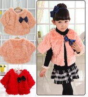 Wholesale Half Neck Fur Jackets - 2016 Spring Baby girls Faux Fur Poncho pink red shawl kids girl thick cardigan dot lining children's Cape jackets