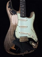 рисовать гитару оптовых-Пользовательские магазин Джон Майер дань Strat черный 1 Джон Круз Masterbuilt тяжелая реликвия ST электрогитара Nitrolacquer краска, в возрасте хром оборудование