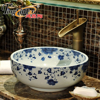 Wholesale Jingdezhen Basin - Round Jingdezhen Bathroom ceramic sink wash basin Counter Top Wash Basin Bathroom Sinks white porcelain blue and white