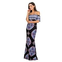5287892a14 Vestidos largos sin hombros Fiesta de vacaciones de verano Vestidos con  estampado de rosas azul marino Vestido Festa Largo Robes