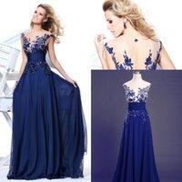 Wholesale Tarik Ediz Robes - Tarik Ediz Long Royal Blue Evening Dresses robe soiree Cap Sleeves Embroidery Chiffon Floor Length Prom Bridesmaid Dress
