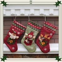 santa claus stok tutucuları toptan satış-Noel Stocking Noel Baba Noel Stocking Karikatür Çerezler Şeker Tutucu Hediye Çantası Konteyner Noel Dekorasyon Malzemeleri