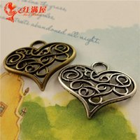 Wholesale Bronze Love Charms Pendants - A3627 21*26MM Antique Bronze Europe U.S.A. fine hollow love DIY jewelry wholesale, filigree heart charm pendant, tibetan silver charms