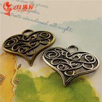 Wholesale Wholesale Bronze Filigree - A3627 21*26MM Antique Bronze Europe U.S.A. fine hollow love DIY jewelry wholesale, filigree heart charm pendant, tibetan silver charms