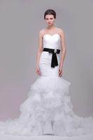 organza wedding dress black belt 도매-2016 인어 웨딩 드레스 실제 사진 연인 주름 계층 주름 프릴 오간자 스커트 블랙 파란색 벨트 신부 가운