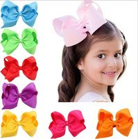 Wholesale Yellow Brown Hair Color - 16 Colors Childrens Barrettes Colorful Bow Hairpins Wearing Hair Band Baby Headdress Photography Props Knotted Hair Accessories Wholesale