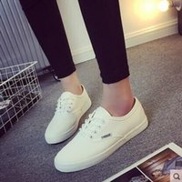 Wholesale Crust Rounding - Woman White canvas shoes Summer breathable flat shoes with flat leisure wild white lace thick crust Korean students Shoes
