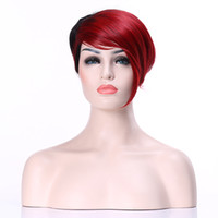 Wholesale Ladys Suits - New Stylish Hlaf Red Hlaf Black Short Straight Synthetic Ladys' Hair Wig Wigs suit for Party and Daily Life