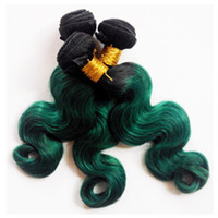 Wholesale Ombre Feathers Hair - Fashion Womens Feather Hair Extension Colorful Hair ombre weave extension weft sexy 1B green Two tone chinese hair Unprocessed 8-30inch
